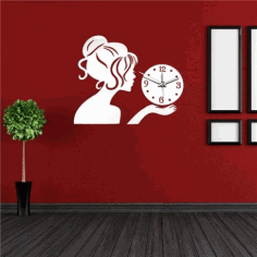 Laser Cut Wall Clock With Girl Free Vector File
