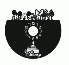 Laser Cut Walt Disney Vinyl Clock Template Free Vector File