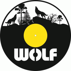 Laser Cut Wolf Vinyl Record Clock Template Free Vector File