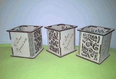 Laser Cut Wood Pen Holder Free DXF File