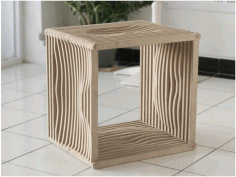 Laser Cut Wooden Four Sided Stool Free DXF File