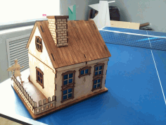 Laser Cut Wooden House With Chimney Free DXF File