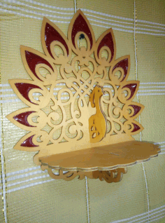 Laser Cut Wooden Peacock Wall Bracket Wall Mount Shlef Free DXF File