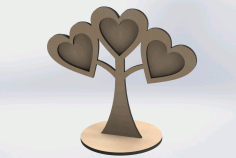 Laser Cut Wooden Photo Frames Heart Shaped On Tree Free DXF File