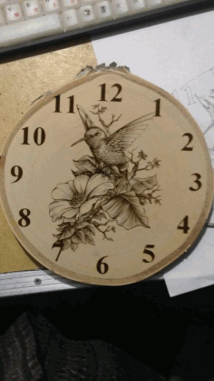Laser Engraving Bird And Flowers Clock Template Free Vector File
