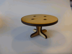 Lasercut Round Table For A Doll House Free DXF File