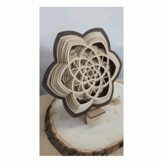 Layered Wooden Sculptures Flower Free DXF File
