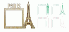 London Paris Photo Frame Laser Cut And Engraving Free DXF File