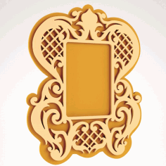 Mirror Floral Frame Decorative Free DXF File