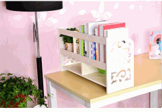 Multifunction Desktop Storage Rack Bookcase Shelf Free DXF File
