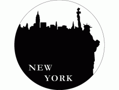 New York Clock Laser Cut Free DXF File