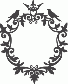 Ornamental Birds Frame Free DXF File