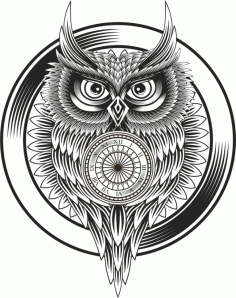 Owl Clock Ornament Free Vector File