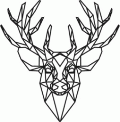 Panel Polygonal Deer Head For Laser Cut Free DXF File