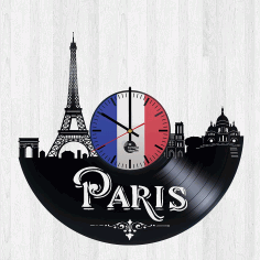 Paris France Vinyl Record Wall Clock Free DXF File