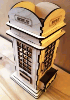 Phone Booth Pen Holder For Laser Cut Free Vector File
