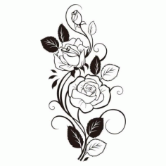 Rose Vine Drawing Free DXF File