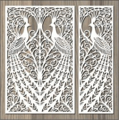Screened Peacock For Laser Cut Cnc Free DXF File