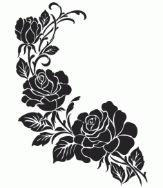 Silhouette Flower Black And White Free DXF File