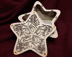 Star Box Model With Cover Cut For Laser Cut Free Vector File