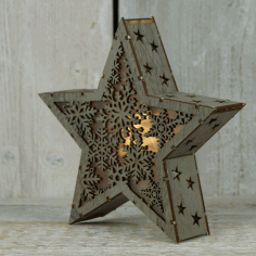 Star Light Lamp Laser Cut Free Vector File