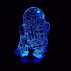 Star Wars r2 d2 Robot 3d Led Night Light Template Free Vector File