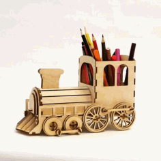 Steam Locomotive Pen Organizer With Bank Free Vector File