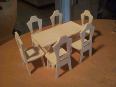 Table And Chair Wooden Free DXF File