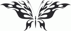 Tattoo Tribal Butterfly Flying Free DXF File