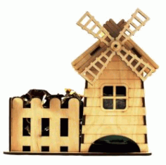 Tea House And Windmill For Laser Cut Cnc Free DXF File
