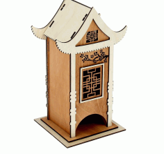 Tea House Tea Holder Box Laser Cut Free DXF File