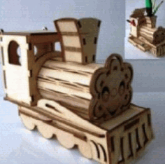 Train Pen Holder For Laser Cut Cnc Free DXF File