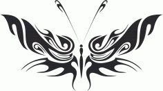 Tribal Butterfly Art 34 Free DXF File