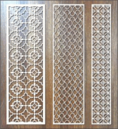 Vertical Column Fish Flower Pattern For Laser Cut Cnc Free DXF File