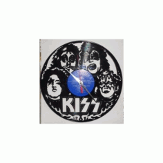 Vinyl Record Wall Clock Kiss Free DXF File