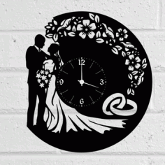 Wedding Vinyl Record Wall Clock Free DXF File