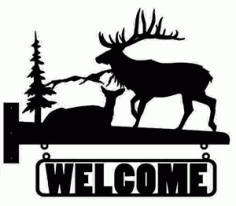 Welcome Moose Silhouette Free DXF File