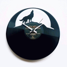 Wolf Moon Wall Clock Lupo Free DXF File