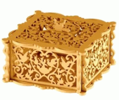 Wooden Box With Bird For Laser Cut Cncmotifs Free Vector File