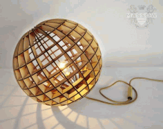 Wooden Laser Cut Spherical Decorative Pendant Lamp Free DXF File