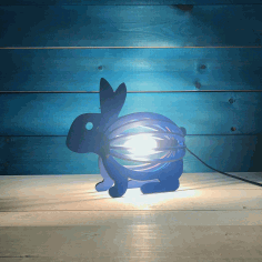 Wooden Rabbit Night Light Bunny Lamp Laser Cutting Template Free Vector File