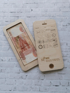 Wooden Wallet Bank Notes Box Iphone Shaped Free Vector File