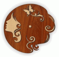 Young Woman Wall Clock Download For Laser Cut Plasma Free DXF File