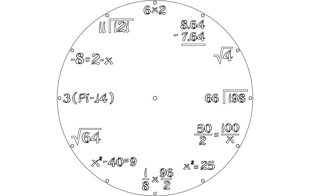 Clock Math Free DXF File