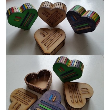 Heart Wood Box Flat Free DXF File