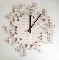 Honeycomb Wall Clock For Laser Cut Cnc Free DXF File