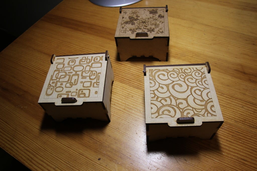 Laser Cut Engraved Jewelry Boxes Free DXF File
