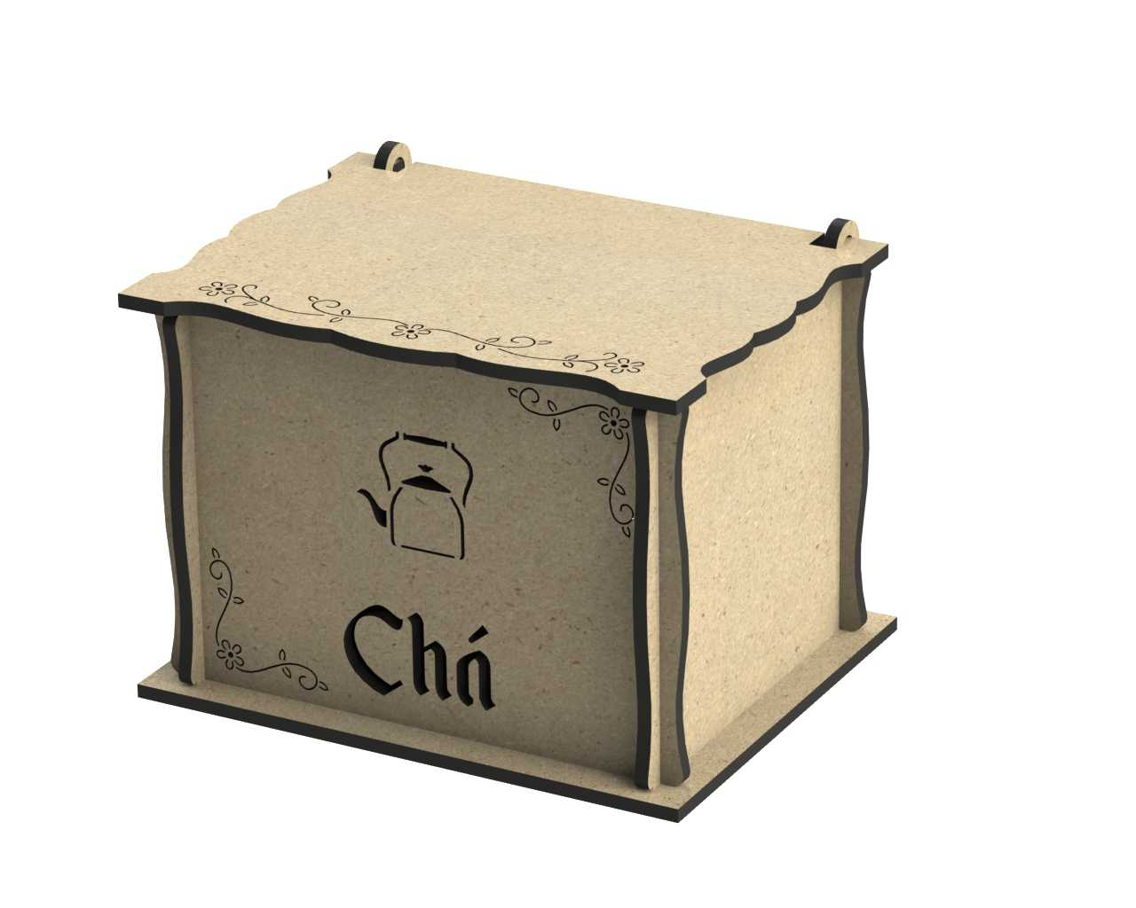 Laser Cut Engraved Wooden Tea Box With Lid Free DXF File