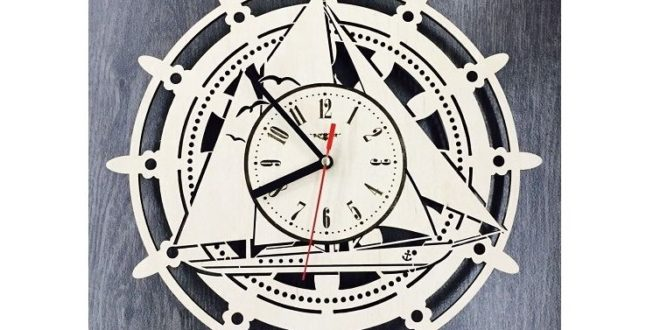 Laser Cut Wall Clock Yacht Boat Ship Free DXF File