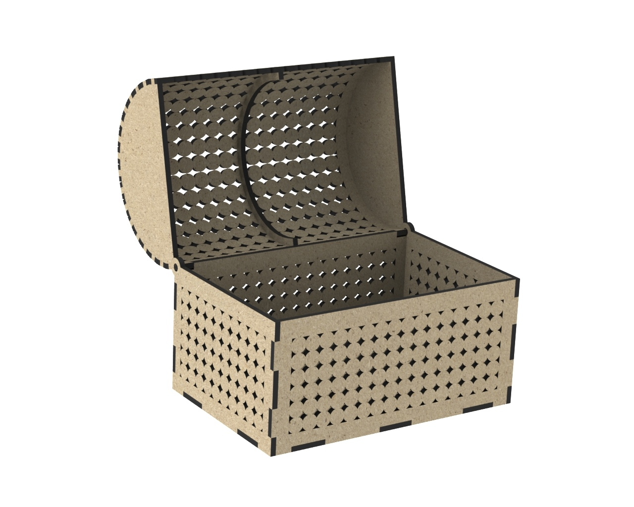 Laser Cut Wooden Chest With Decorative Lid Free DXF File